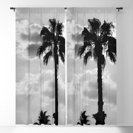 Palm Trees In Black And White Blackout Curtain