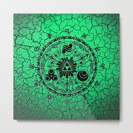 Green Circle Of Triangle Metal Print