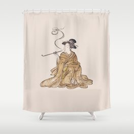Vintage Oriental Antique Japan Smoking Lady Shower Curtain