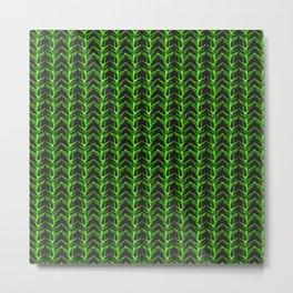Watercolour Fern Leaf Woodland Plant Pattern Illustration Moss & Forest Green Nature Metal Print
