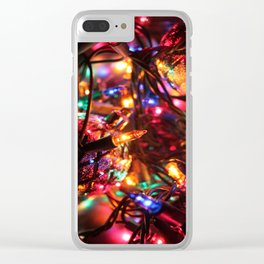 Colored Christmas Lights Clear iPhone Case