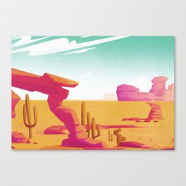 Desert Gaze Kitschy Vintage Watercolor in Mid Century Style Canvas Print