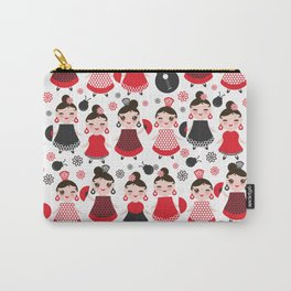 pattern spanish Woman flamenco dancer. Kawaii cute face with pink cheeks and winking eyes. Carry-All Pouch
