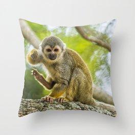 Common Squirrel Monkey Throw Pillow