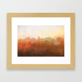 Madison, Wisconson Skyline - In the Clouds Framed Art Print