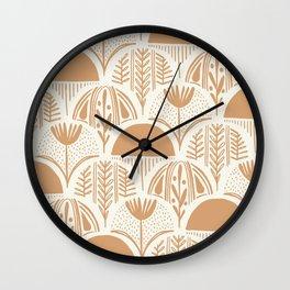 Botanical Clamshells in Cream on Terracotta Wall Clock
