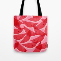georgiana paraschiv Tote Bags featuring Watermelon by Georgiana Paraschiv