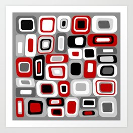Mid Century Modern Squares and Rectangles // Red, Gray Black, White Art Print