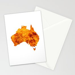 Australia Map With Flames Background Stationery Cards