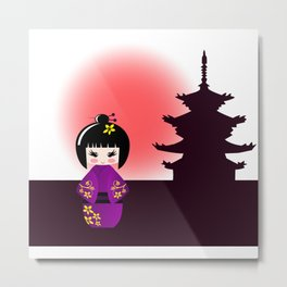 Japanese kokeshi doll at temple during sunset Metal Print