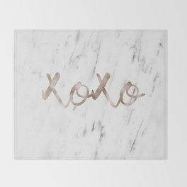 Rose gold marble XOXO Throw Blanket