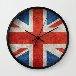 "UK Union Jack flag ""Bright"" retro grungy style Wall Clock"