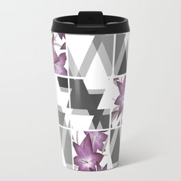 Pink lilies on grey triangles . Travel Mug
