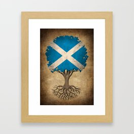 Vintage Tree of Life with Flag of Scotland Framed Art Print
