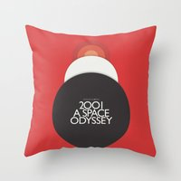 stanley kubrick Throw Pillows featuring 2001 A Space Odyssey - Stanley Kubrick Poster, Red Version by Stefanoreves