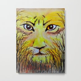 Beautiful Mighty Lion Face Painting Metal Print