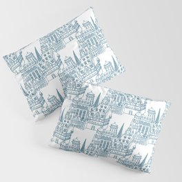 Buildings in Blue Pillow Sham