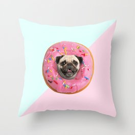 Pug Strawberry Donut Throw Pillow
