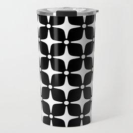 Mid Century Modern Star Pattern Black and White 2 Travel Mug