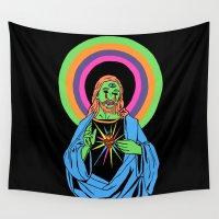 jesus Wall Tapestries featuring Blacklight Jesus by Corinne Halbert