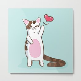 Fatty Catty saying HI Metal Print