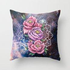 Space Peonies Throw Pillow