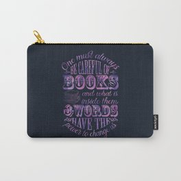 Be Careful Of Books - Black & Purple Carry-All Pouch