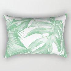 Tropics Palm Leaves Green on White Rectangular Pillow