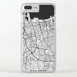 Jakarta Map Gray Clear iPhone Case