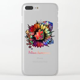 Autism Awareness Colorful Sunflower Clear iPhone Case