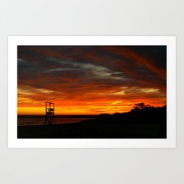 Sunset Lifeguard Chair - Cape Cod Art Print