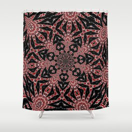 Intricate Black Red and White Kaleidoscope Shower Curtain