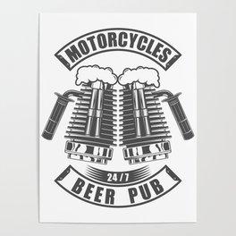 Beer pub emblem in vintage monochrome motorcycle style Poster