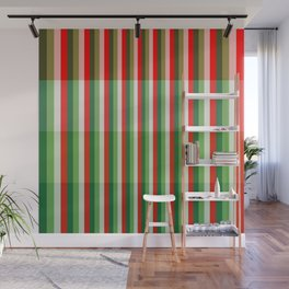 Green, Star White and Red Stipe Overlay Pattern Wall Mural