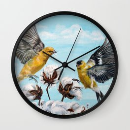 Golden Finches Picking Cotton Wall Clock