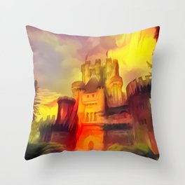 Red and Green Butrón Castle Throw Pillow