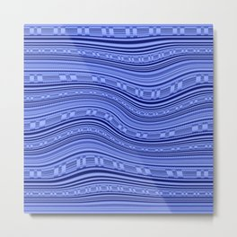 Optical Illusion Moving Stripes Indigo Blues Metal Print