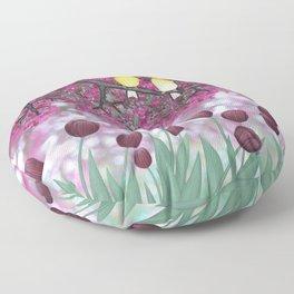 goldfinches, tulips, & flowering crabapple Floor Pillow