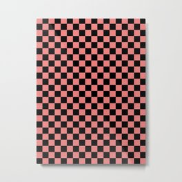 Black and Coral Pink Checkerboard Metal Print