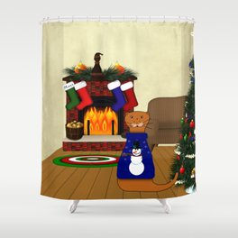 Oliver The Otter's Christmas Shower Curtain