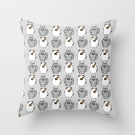 Cats and Dogs on grey Throw Pillow