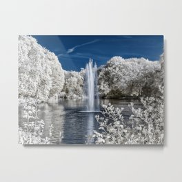 Fountain in Infrared Metal Print