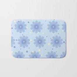 Blue shades blend flowers with polka dot background Bath Mat