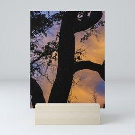 Silhouetted Tree at Sunset Mini Art Print