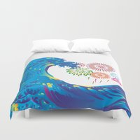 hokusai Duvet Covers featuring Hokusai Rainbow & Fireworks  by FACTORIE