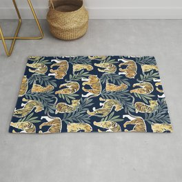 Nouveau white tigers // navy blue background green leaves white lines yellow animals Rug