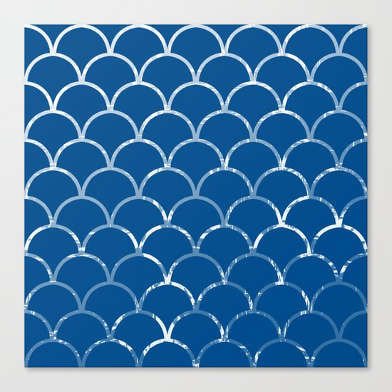 Textured large scallop pattern in snorkel blue Canvas Print