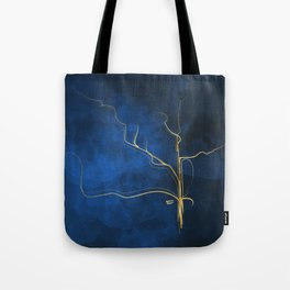 Kintsugi Electric Blue #blue #gold #kintsugi #japan #marble #watercolor #abstract Tote Bag