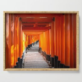 Torii gates of the Fushimi Inari Shrine in Kyoto, Japan Serving Tray