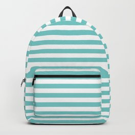 Small Horizontal Aqua Stripes Backpack